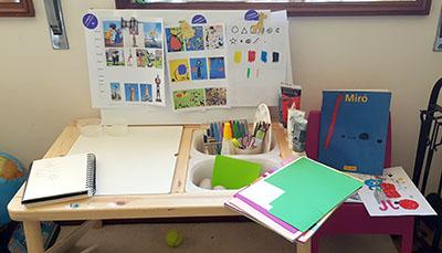 Área de Projecto pronta para iniciar os trabalhos, com vários materiais