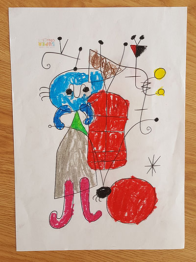desenho de Joan Miró pintado pela Pipoca