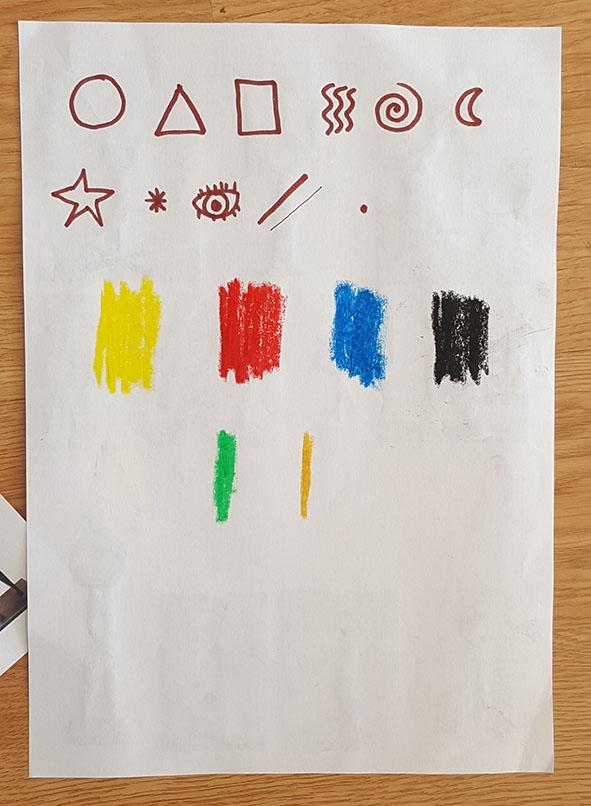 Registo em desenho das Formas e cores predominantes nas obras de Miró